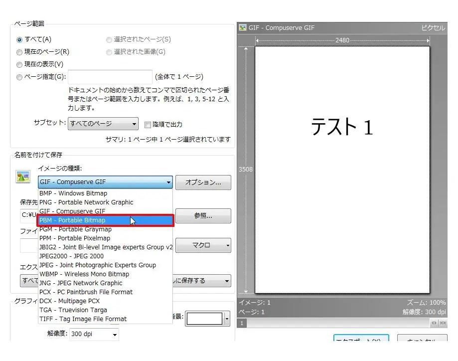 [名前を付けて保存] グループの [イメージの種類] コンボ ボックスリストの [PBM - Portable Bitmap] をクリックします。