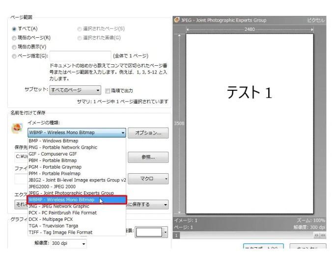 [名前を付けて保存] グループの [イメージの種類] コンボ ボックスリストの [WBMP - Wireless Mono Bitmap] をクリックします。
