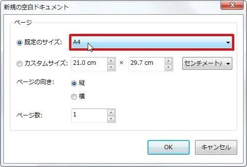 [既定のサイズ] をクリックすると既定のサイズを選択できます。