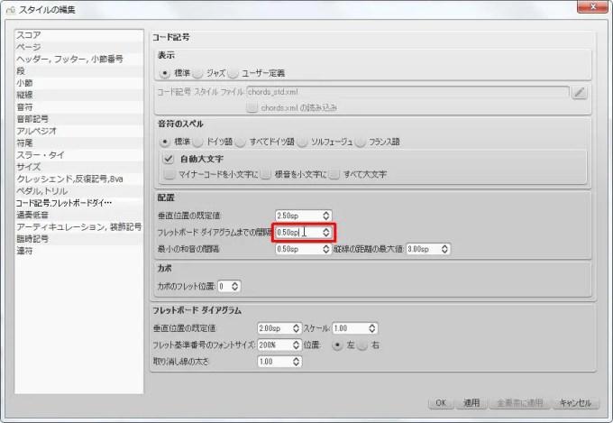 楽譜作成ソフト「MuseScore」[ペダル・トリル・コード記号・フレッドボードダイ][コード記号] グループの [フレットボード ダイアグラムまでの間隔] スピン ボックスを選択できます。