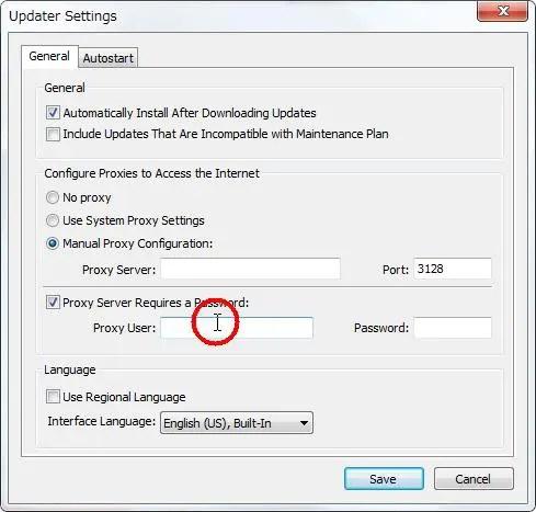 [Configure Proxies to Access the Internet(インターネットにアクセスするためのプロキシの設定)] グループの [Proxy Server Requires a Password(プロキシサーバーにパスワードが必要)] の [Proxy User(プロキシユーザー名)] を設定します。