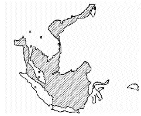 Lục địa SUNDA (vùng gạch chéo) trước khi chìm ngập