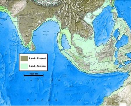 Bản đồ Đông Nam Á vào thời đại Băng Hà