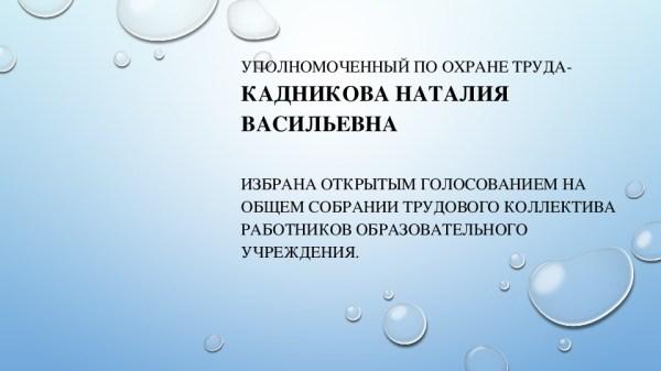 Презентация уполномоченного по охране труда Кадниковой Н.В.