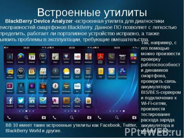 BlackBerry OS - презентация к уроку Технологии