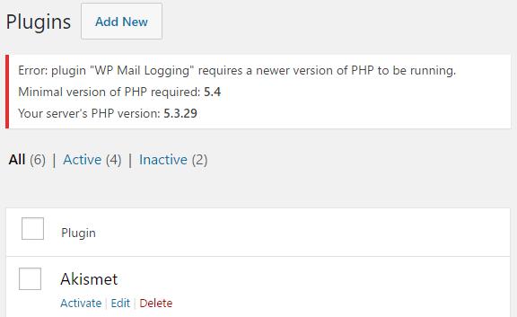 error pre 5.4 is shown