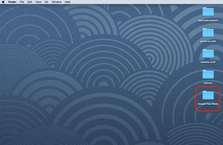Скриншот рабочего стола Mac папка с музыкой Google Play