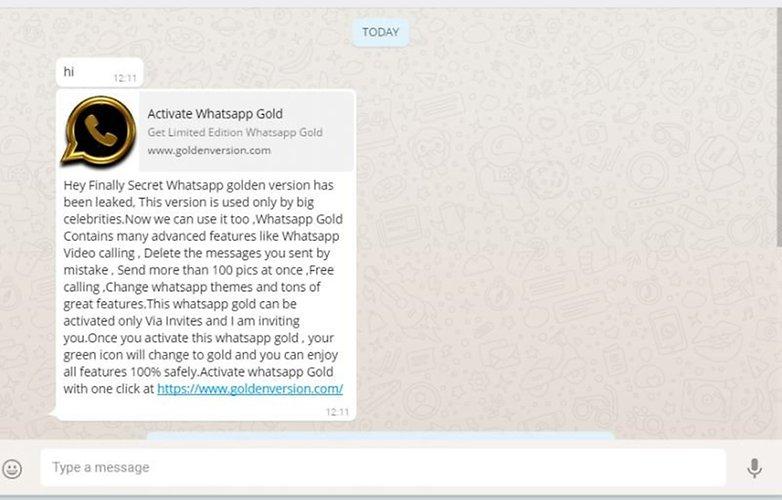 Сообщение о вредоносном ПО для WhatsApp gold