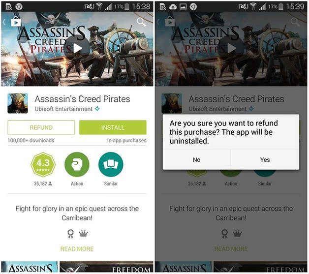androidpit google play refund w628 - خطوات استرجاع أموالك من متجر جوجل بلاي في حال تراجعك بعد الشراء