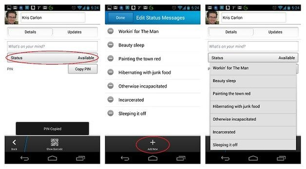 Статус AndroidPIT BBM