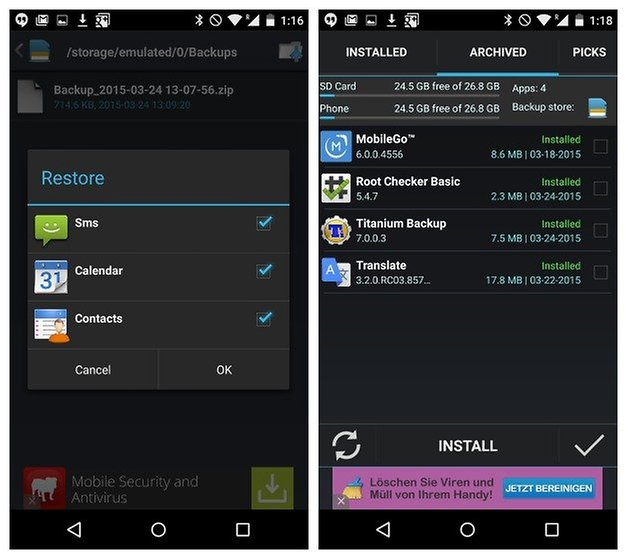 AndroidPIT Easy BAckup restore types installed apps