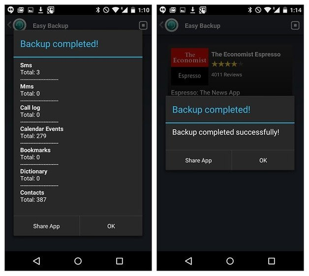 AndroidPIT Easy Backup completed summary