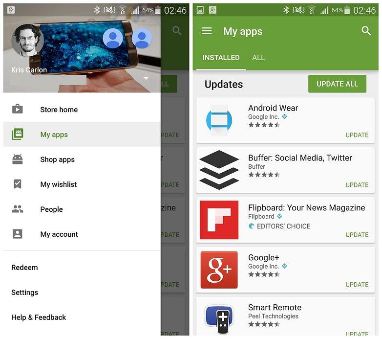 AndroidPIT Galaxy Note 4 Play Store обновляет все мои приложения