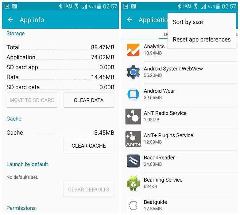 AndroidPIT Galaxy Note 4 очистить кеш приложения сбросить настройки приложения