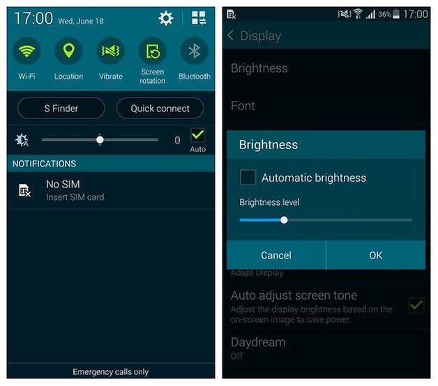 AndroidPIT Galaxy S5 Автояркость