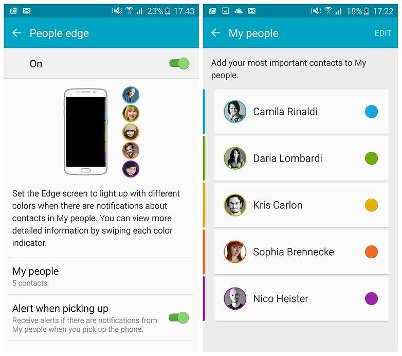 AndroidPIT Galaxy S6 Edge TouchWiz Edge Экран люди граница контакты