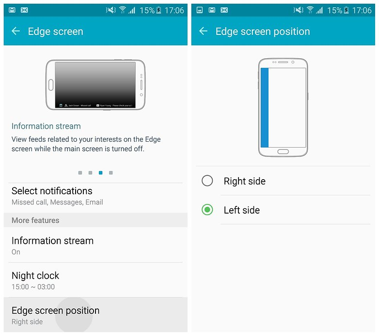 AndroidPIT Galaxy S6 Edge TouchWiz Edge Положение экрана