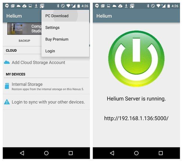 AndroidPIT Helium Backup ПК Загрузочный сервер запущен