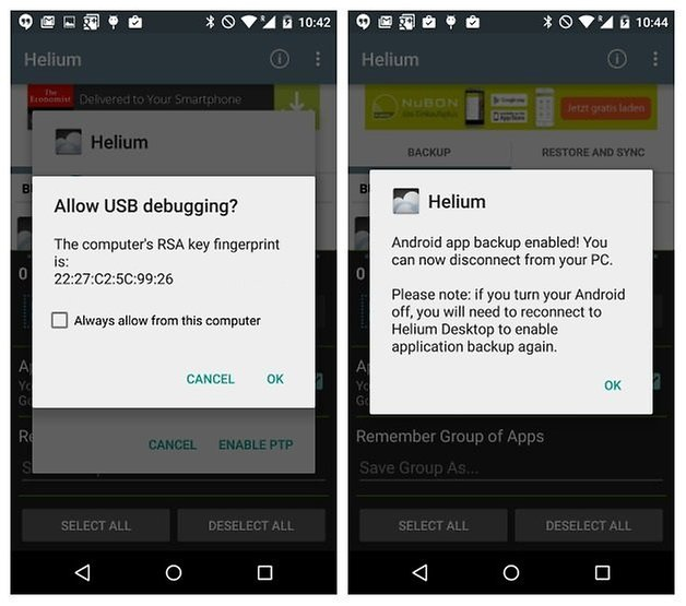 AndroidPIT Helium Backup USB debugging connection established