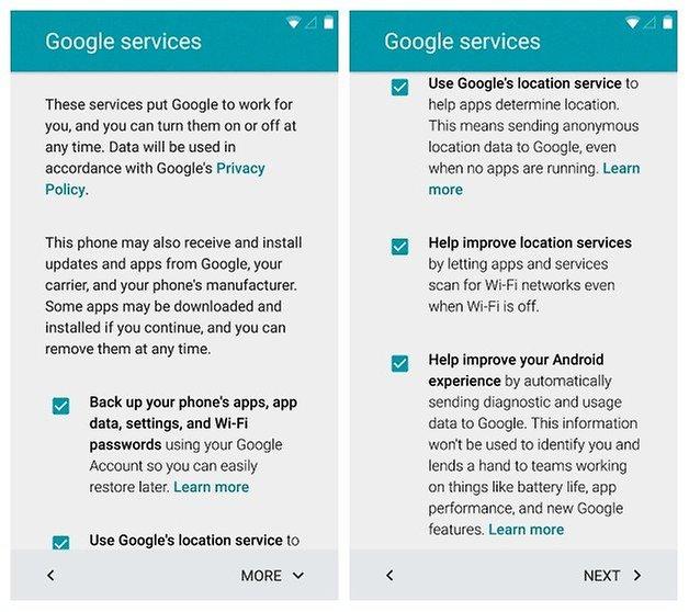 AndroidPIT Nexus 5 Android 5 Lollipop Настройка служб Google