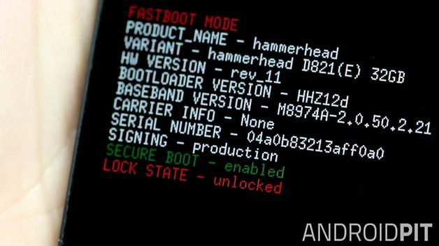 AndroidPIT Nexus 5 Fastboot разблокирован
