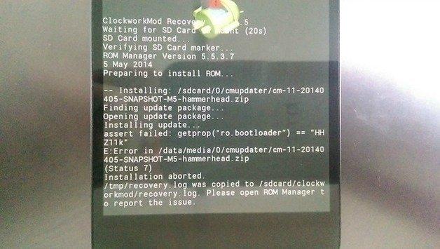 Ошибка загрузчика AndroidPIT Nexus Status 7