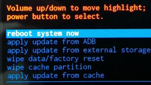 Меню восстановления AndroidPIT Система перезагрузки