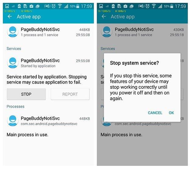 AndroidPIT Диспетчер приложений Samsung Galaxy S5 остановить приложение