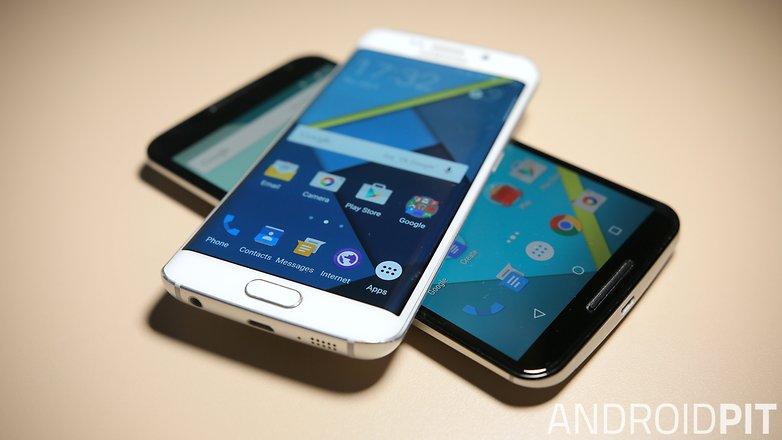 AndroidPIT Samsung Galaxy S6 Edge Nexus 6 в стеке