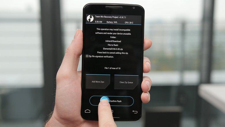 AndroidPIT Nexus 6 TWRP установить ядро подтвердить