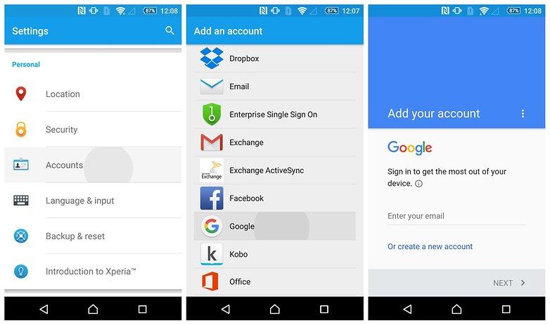 AndroidPIT добавить новую учетную запись google
