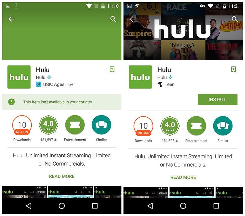 AndroidPIT устанавливает ограничение по региону hulu