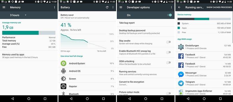 запущенные службы Android Nougat