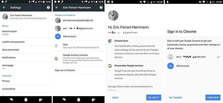 учетная запись синхронизации Chrome 2018 04