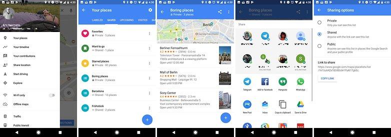 список общего доступа карт Google