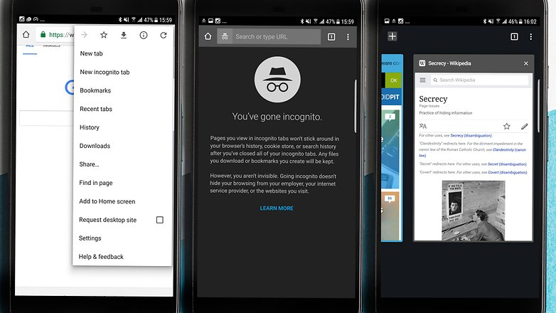 Скриншот приватного просмотра в режиме инкогнито AndroidPIT