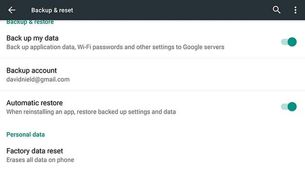 Заводские настройки AndroidPIT Nexus 6