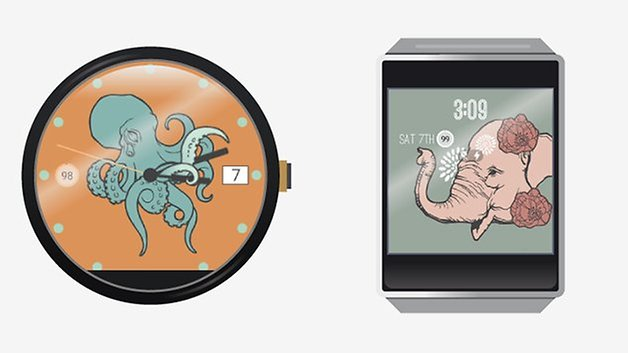 androidpit android носить иллюстрации циферблаты