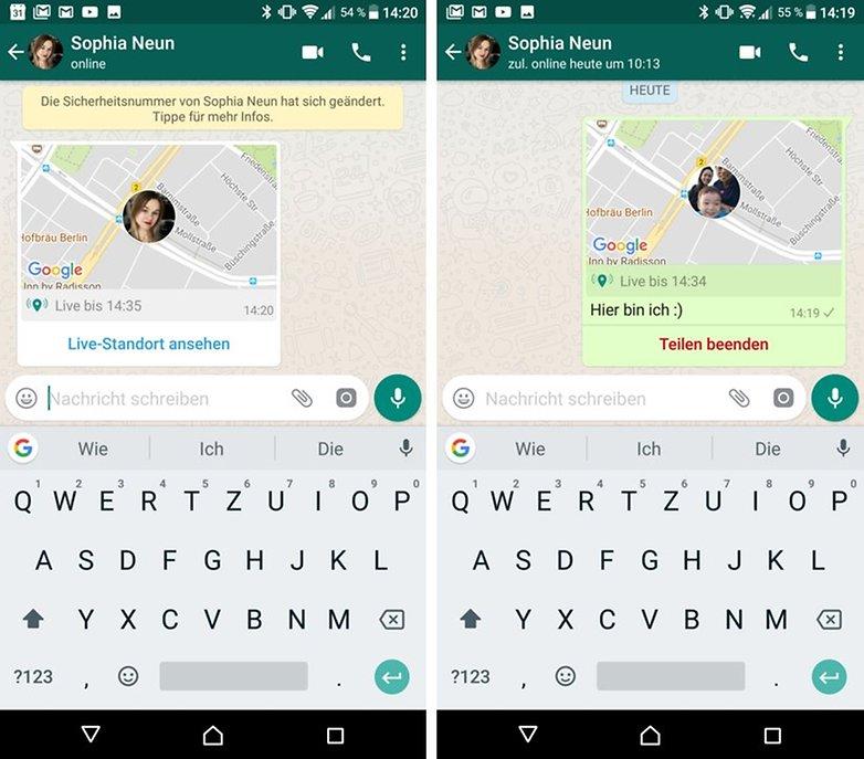 Поделиться в реальном времени в WhatsApp