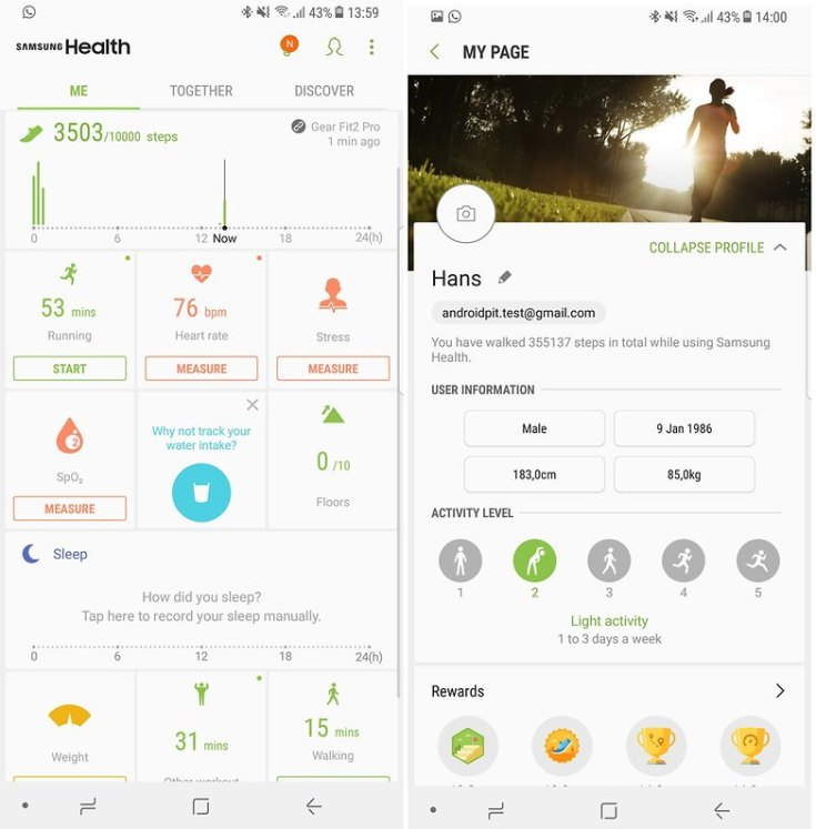 androidpit gear fit2 pro health