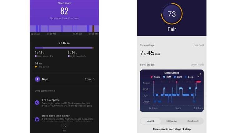 NextPit xiaomi mi band 5 vs fitbit sense sleep