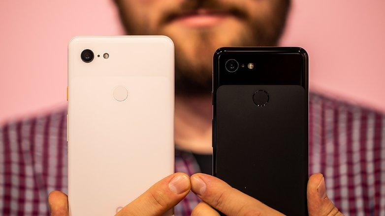 AndroidPIT Google Pixel 3 против Pixel 3 XL назад