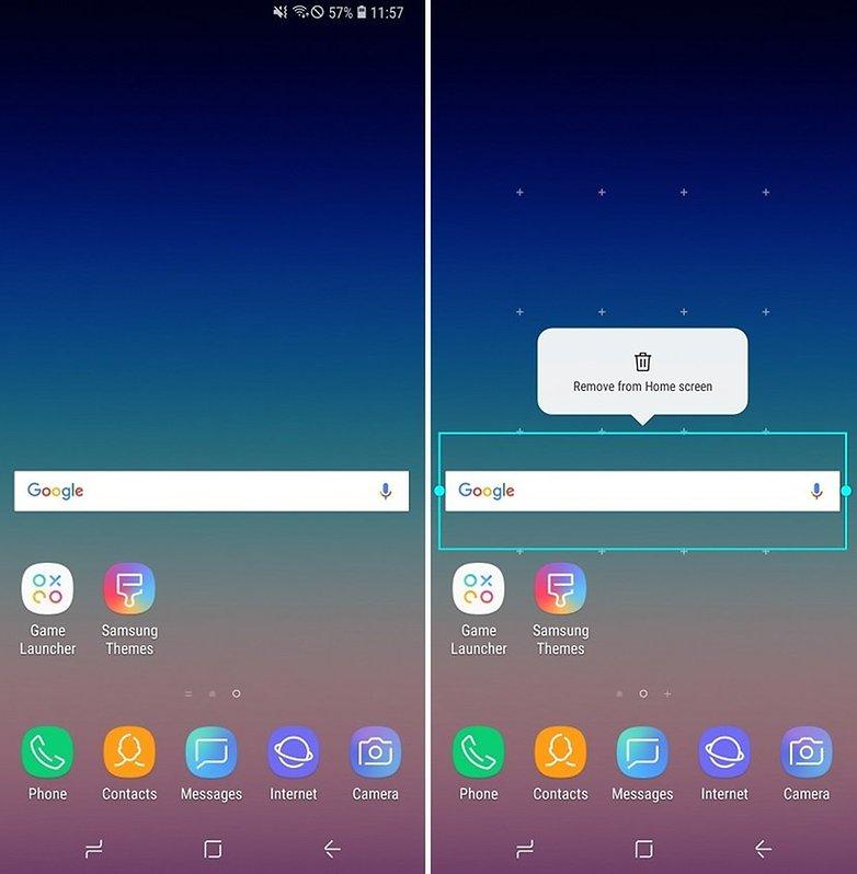 удалить поисковые панели Samsung