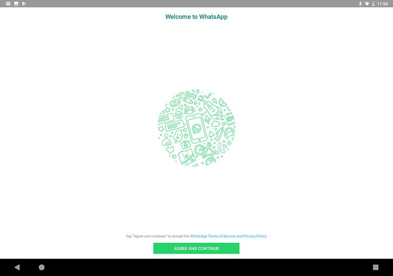использовать WhatsApp на планшете, принять условия