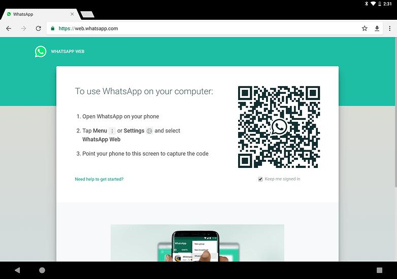 использовать WhatsApp на планшете WhatsAppWeb