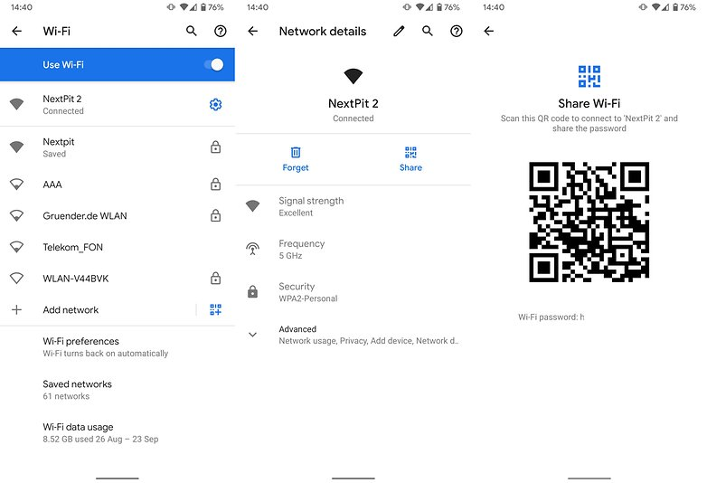 Wi-Fi совместное использование Android 10