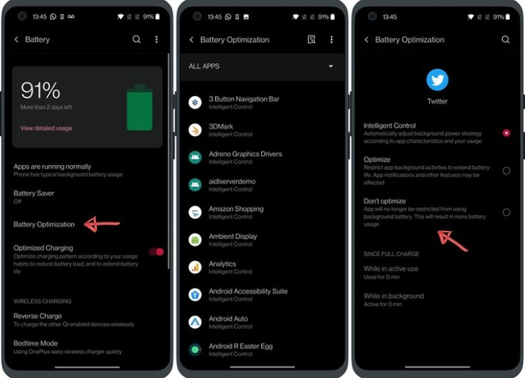 oneplus 9 oxygenos 11 battery optimization exception