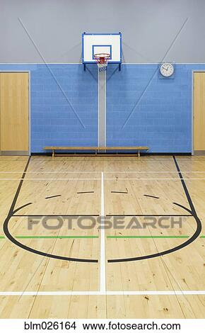 Stock Photo of Basketball court markings and hoop in the ...