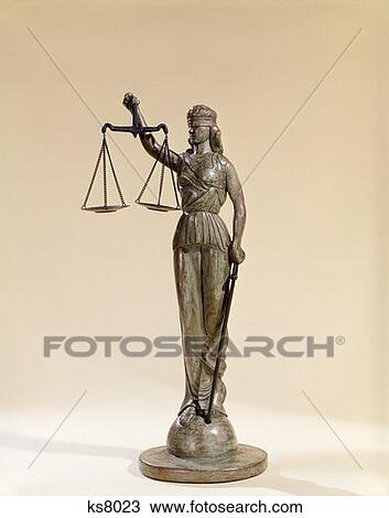 Stock Photo of Statue Of Blind Justice Holding Scales ...