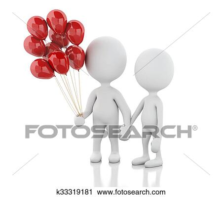 Download 3d couple in love with red balloons. Romance Clip Art ...